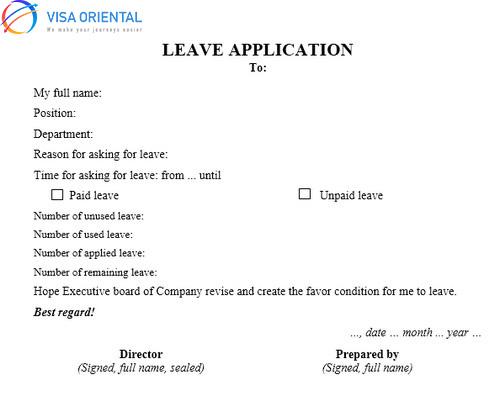 Mẫu đơn xin nghỉ phép đi du lịch bằng tiếng Anh và tiếng Việt